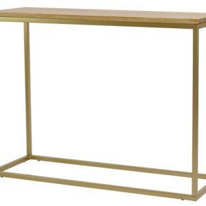 Dubový toaletní stolek FormWood Villa 100 x 35 cm s matnou zlatou podnoží - Výška75 cm- Šířka 100 cm