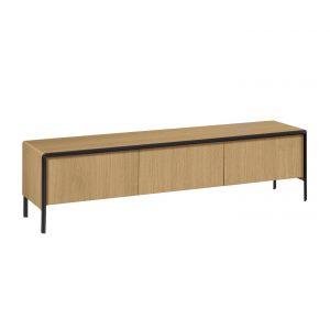 Přírodní dřevěný televizní stolek LaForma Nadyria - Hloubka move42 cm- Podnož move Černě lakovaný kov