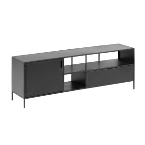 Černý kovový TV stolek LaForma Shantay 150x50 cm - Šířka move150 cm- Hloubka move 35 cm