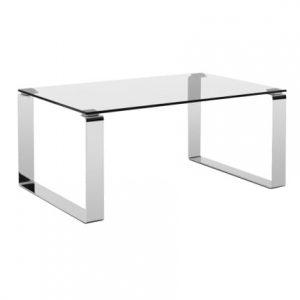 MARBET STYLE Skleněný konferenční stolek MARBET CUBBY s chromovou podnoží 90x60 cm - Výška40