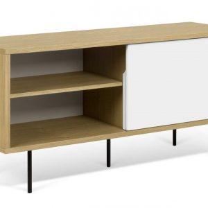 Porto Deco Bílý dubový TV stolek Deron II 135 x 45 cm - Výška65 cm- Šířka move 135 cm
