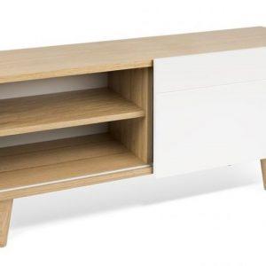 Porto Deco Bílý dubový TV stolek Danne 120 x 34 cm - Výška50 cm- Šířka move 120 cm