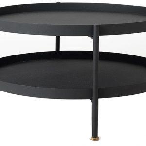 Nordic Design Černý konferenční stolek Nollan 80 cm se zlatými detaily - Výška45 cm- Průměr 80 cm