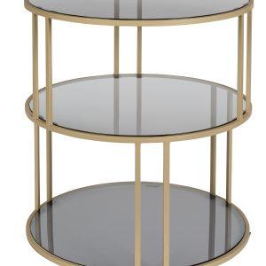 Skleněný kulatý odkládací stolek DUTCHBONE Torn 45 cm - Výška47 cm- Průměr move 45cm