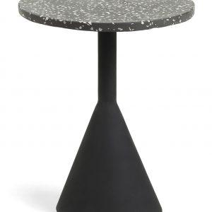 Černý terrazzo odkládací stolek LaForma Melano 40 cm - Výška50 cm- Šířka move 40 cm