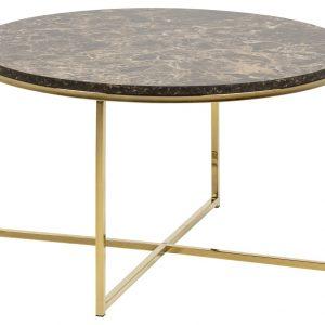 SCANDI Hnědý mramorový konferenční stolek Venice 80 cm - Deska moveMDF s mramor. motivem- Podnož move Zlatě lakovaný kov