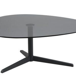 SCANDI Černý skleněný konferenční stolek Barnsby 103 x 95 cm - Výška41 cm- Šířka move 103 cm