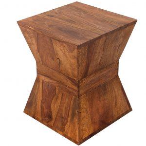 Moebel Living Přírodní masivní sheeshamový odkládací stolek Giza 35x35 cm - Šířka35 cm- Výška move 45 cm