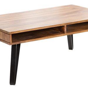 Moebel Living Přírodní masivní konferenční stolek Sandra 100x60 cm - Šířka100 cm- Úložný prostor move 50x5x60 cm