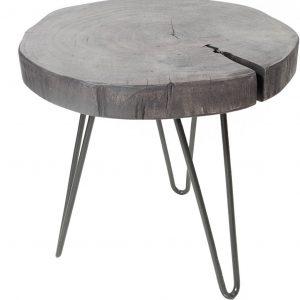 Moebel Living Šedý masivní odkládací stolek Gela - Šířka35-43 cm- Tloušťka desky move 4 cm