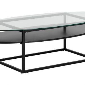 SCANDI Skleněný oválný konferenční stolek Gavon 140 x 60 cm - Podnož moveKov- Výška 39
