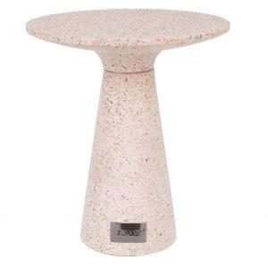 Světle růžový terrazzo odkládací stolek ZUIVER VICTORIA 41 cm - Výška move47 cm- Průměr move 41 cm