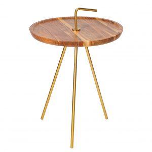 Moebel Living Akátový odkládací stolek Chavez 41 cm - Výška44 cm- Průměr move 41 cm