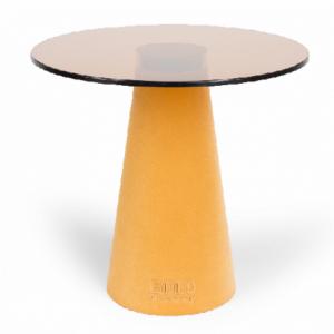 Žlutý skleněný odkládací stolek Bold Monkey Leader Of The Fanclub - Výška39 cm- Průměr 40 cm