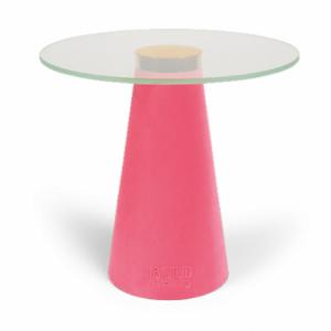 Růžový skleněný odkládací stolek Bold Monkey Leader Of The Fanclub - Výška39 cm- Průměr 40 cm
