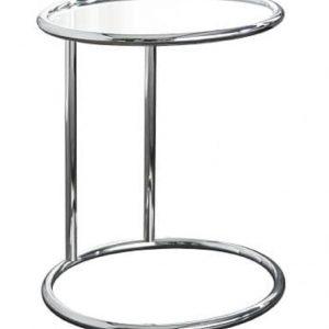 Moebel Living Skleněný odkládací stolek Walter 40x40 cm s chromovou podnoží - Výška55 cm- Šířka move 40 cm