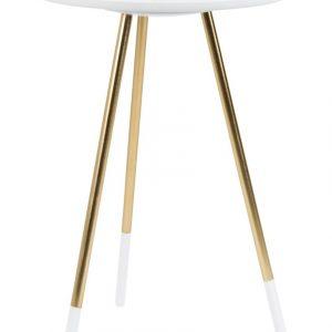 White Label Living Bílý odkládací stolek WLL RUMBI 37 cm - Průměr move37 cm- Max. nosnost move 10 kg