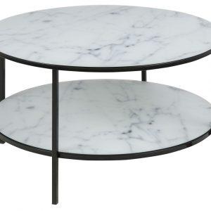 SCANDI Bílo-černý skleněný konferenční stolek Venice II 80 cm - Výška45 cm- Výška podnože 44