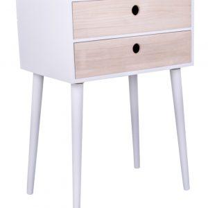 Bílý dřevěný noční stolek Nordic Living Feda - Materiál moveDřevo paulovnie- Výška move 65