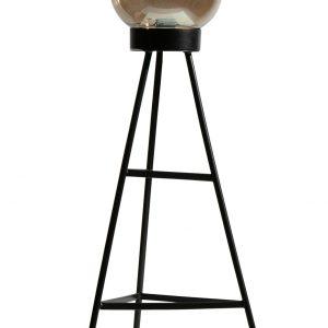Hoorns Černá kovová stojací lampa Vivan - Výška84 cm- Délka kabelu move 150 cm