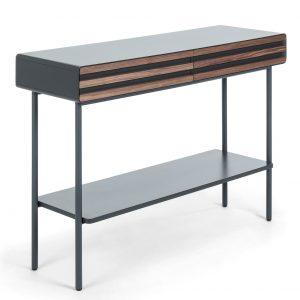 Grafitově černý dřevěný toaletní stolek LaForma Mahon 120 x 40 cm - Výška85 cm- Šířka 120 cm