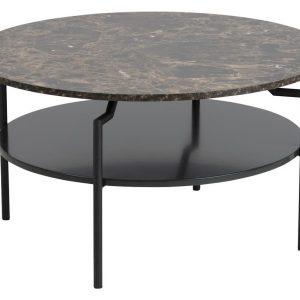 SCANDI Hnědý konferenční stolek Stephan 80 cm - Průměr80 cm- Výška move 45 cm