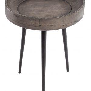 Moebel Living Šedý masivní odkládací stolek Akani 35x35 cm - Šířka35 cm- Výška 49 cm