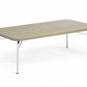 Dubový konferenční stolek Woodman Ashburn 125x65 cm s bílou podnoží - Výška60 cm- Šířka move 125 cm
