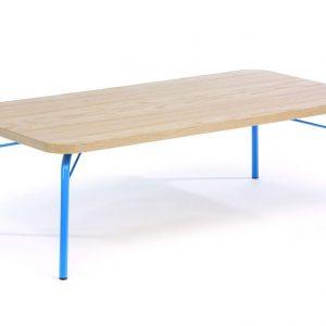 Dubový konferenční stolek Woodman Ashburn 125x65 cm s modrou podnoží - Výška60 cm- Šířka move 125 cm