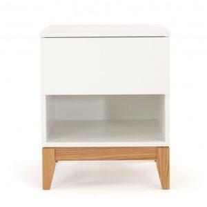 Bílý dubový noční stolek Woodman Blanco - Výška55 cm- Šířka move 45 cm