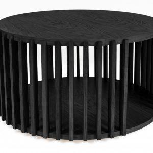 Černý dubový kulatý konferenční stolek Woodman Drum I. 83 cm - Výška42 cm- Průměr move 83 cm