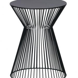 Hoorns Černý kovový odkládací stolek Timon 35 cm - Výška46 cm- Průměr move 35 cm