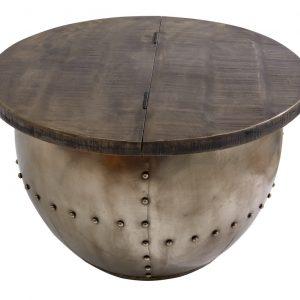Moebel Living Šedý masivní konferenční stolek Armure 68 cm - Šířka68 cm- Výška 44 cm