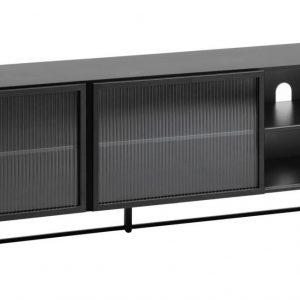 Černý kovový TV stolek LaForma Trixie 180 x 41 cm - Výška58 cm- Šířka 180 cm