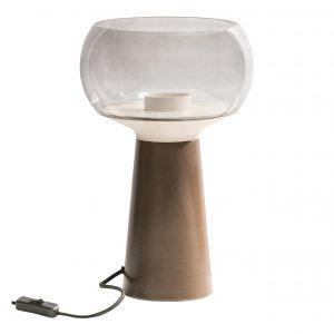 Hoorns Kávově hnědá kovová stolní lampa Boletus ø 24 cm - Výška37 cm- Stínidlo move Kouřové sklo