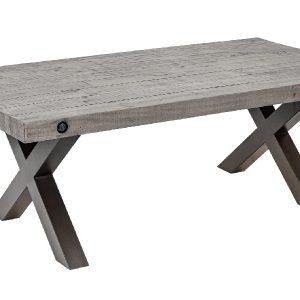 Moebel Living Šedý masivní konferenční stolek Hogan 120x64 cm - Šířka120 cm- Hloubka move 64 cm