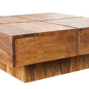 Moebel Living Přírodní masivní dřevěný konferenční stolek Birn 80x80 cm - Šířka80 cm- Výška move 35 cm