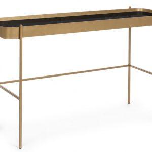 Zlatý kovový toaletní stolek Bizzotto Rashida se skleněnou deskou - Šířka120