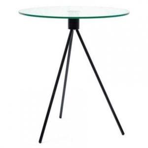 Design Project Skleněný odkládací stolek Bohem 50 cm s černou podnoží - Výška56 cm- Průměr move 50 cm