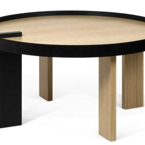 Porto Deco Černý dubový konferenční stolek Puro 80 cm - Výška42 cm- Průměr move 80 cm