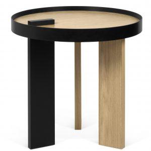 Porto Deco Černý dubový odkládací stolek Puro 50 cm - Výška50 cm- Průměr move 50 cm