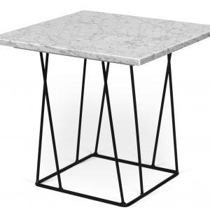 Porto Deco Bílý mramorový odkládací stolek Rofus s černou podnoží 50 x 50 cm - Výška45 cm- Šířka move 50 cm