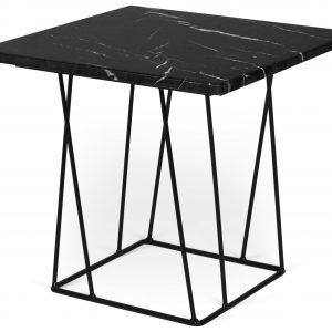 Porto Deco Černý mramorový odkládací stolek Rofus s černou podnoží 50 x 50 cm - Výška45 cm- Šířka move 50 cm