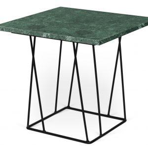 Porto Deco Zelený mramorový odkládací stolek Rofus s černou podnoží 50 x 50 cm - Výška45 cm- Šířka move 50 cm