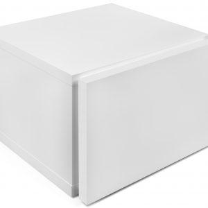Porto Deco Matně bílý dřevěný noční stolek Tiago - Výška31 cm- Šířka move 45 cm