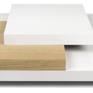 Porto Deco Bílý dubový konferenční stolek Mesa 90 x 90 cm - Výška30 cm- Šířka move 90 cm
