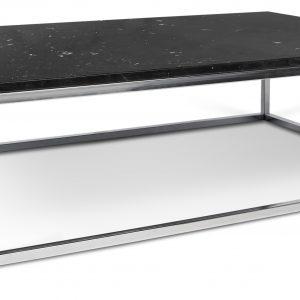 Porto Deco Černý mramorový konferenční stolek Xanti II 120 x 75 cm s chromovanou podnoží - Výška32 cm- Šířka move 120 cm