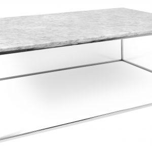 Porto Deco Bílý mramorový konferenční stolek Amaro 120 x 75 cm s chromovanou podnoží - Výška40 cm- Šířka move 120 cm