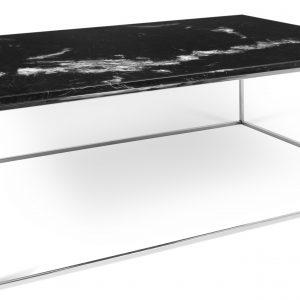 Porto Deco Černý mramorový konferenční stolek Amaro 120 x 75 cm s chromovanou podnoží - Výška40 cm- Šířka move 120 cm