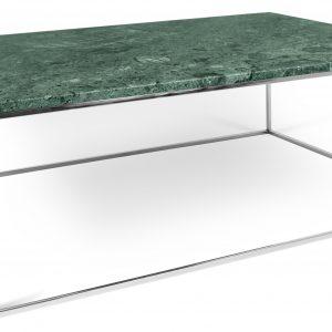 Porto Deco Zelený mramorový konferenční stolek Amaro 120 x 75 cm s chromovanou podnoží - Výška40 cm- Šířka move 120 cm